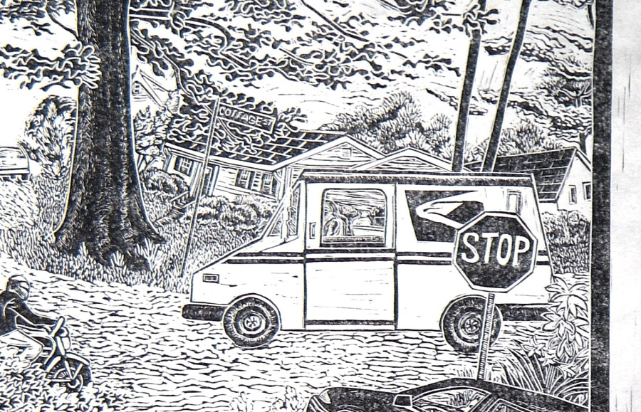 Detail from linoleum block print, Lakeside series, JBH.