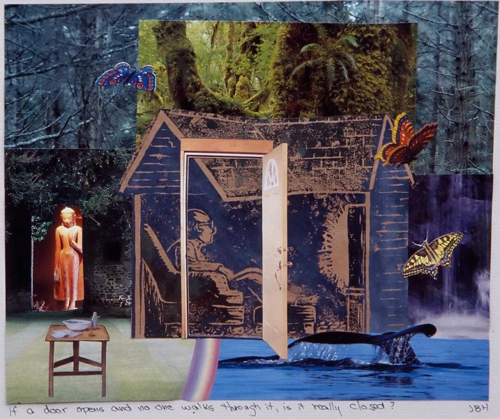 One of my mixed media collages. The central image is a linocut I printed up just to use in collage.